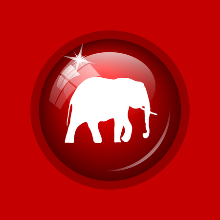 endanger: Elephant icon. Internet button on red background. Stock Photo