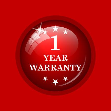 1 year: 1 year warranty icon. Internet button on red background.