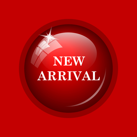 arrival: New arrival icon. Internet button on red background. Stock Photo
