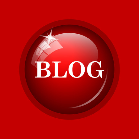 informing: Blog icon. Internet button on red background. Stock Photo