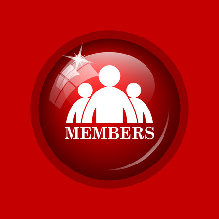 join here: Members icon. Internet button on red background.