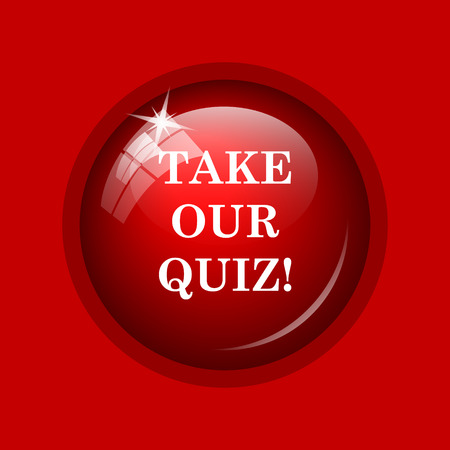 trivia: Take our quiz icon. Internet button on red background.
