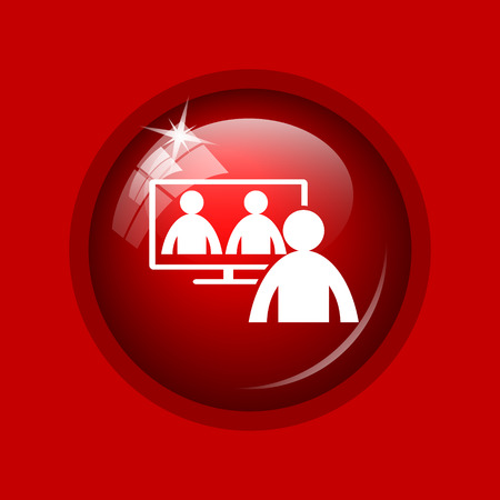 human resource affairs: Video conference, online meeting icon. Internet button on red background.
