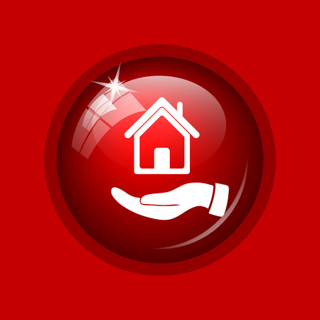 hand holding house: Hand holding house icon. Internet button on red background.