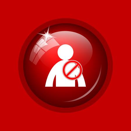 offline: User offline icon. Internet button on red background.