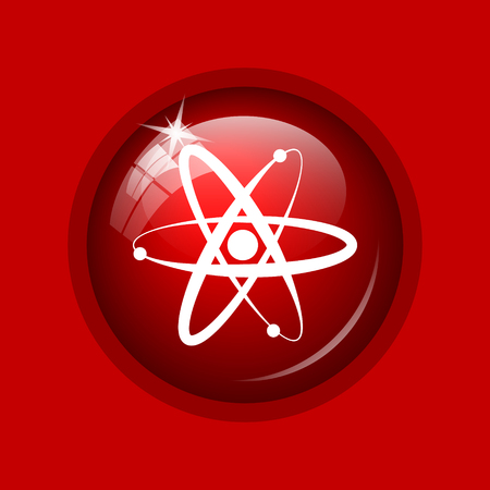gamma radiation: Atoms icon. Internet button on red background. Stock Photo