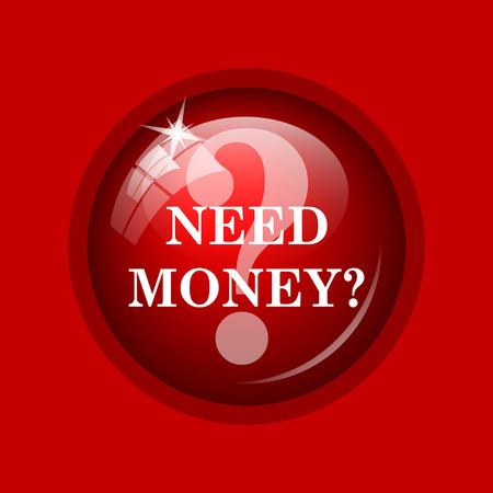 Need money icon. Internet button on red background. Stock Photo