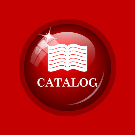 catalog: Catalog icon. Internet button on red background.