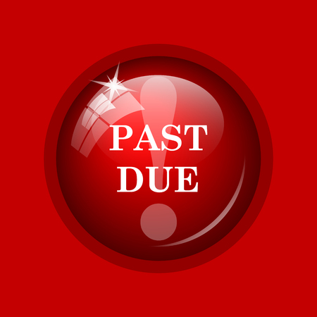 past due: Past due icon. Internet button on red background.