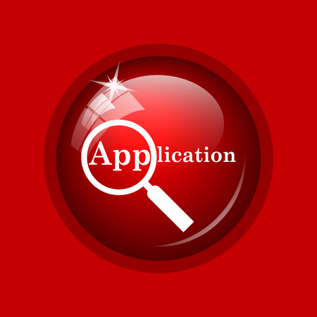 requisition: Application icon. Internet button on red background.