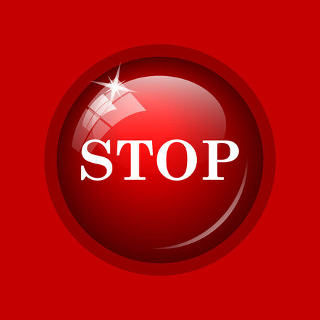 run off: Stop icon. Internet button on red background.
