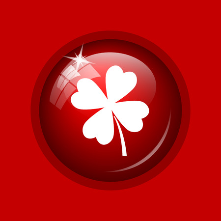 red clover: Clover icon. Internet button on red background. Stock Photo