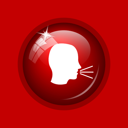 noisily: Talking icon. Internet button on red background. Stock Photo