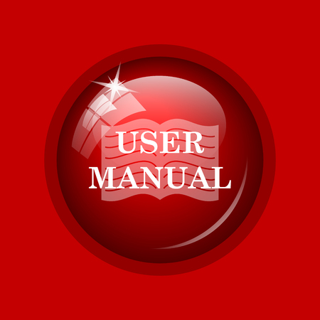 guidebook: User manual icon. Internet button on red background.