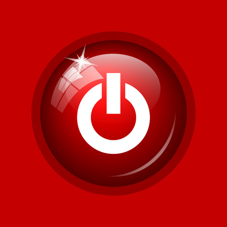 press button: Power button icon. Internet button on red background.