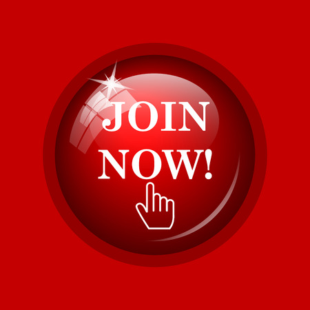 join: Join now icon. Internet button on red background.