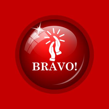 bravo: Bravo icon. Internet button on red background.