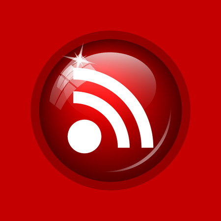 meta: Rss sign icon. Internet button on red background. Stock Photo