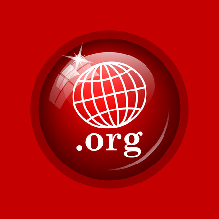 org: .org icon. Internet button on red background.