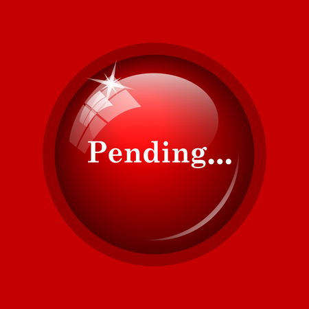 pending: Pending icon. Internet button on red background. Stock Photo