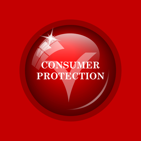 consumer: Consumer protection icon. Internet button on red background.