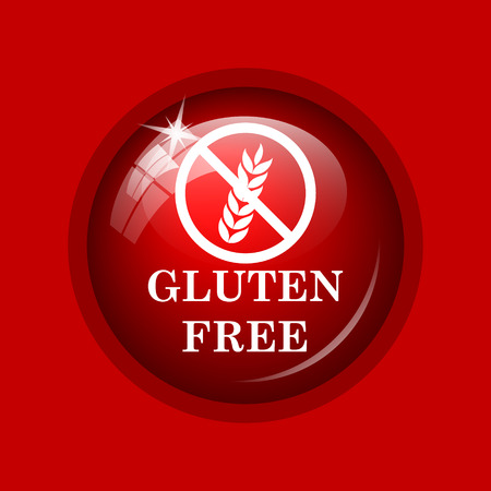 celiac: Gluten free icon. Internet button on red background.