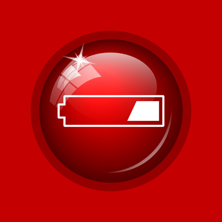 1 third charged battery icon. Internet button on red background.