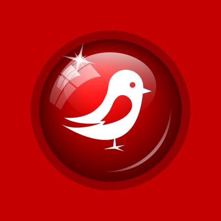 tweet icon: Bird icon. Internet button on red background.