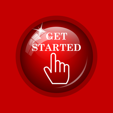 getting started: Get started icon. Internet button on red background.