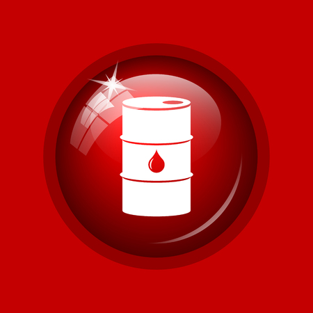 barrell: Oil barrel icon. Internet button on red background.