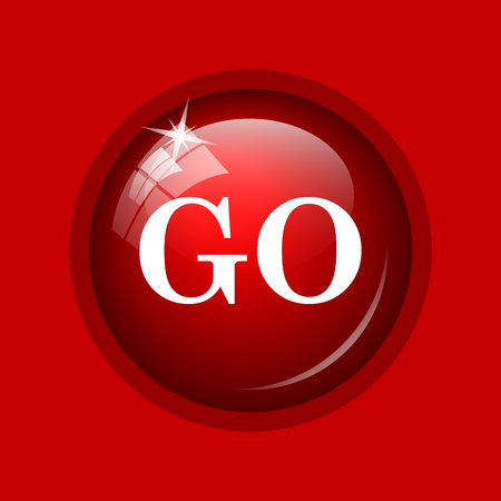 proceed: GO icon. Internet button on red background. Stock Photo