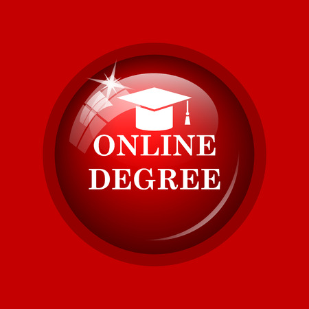 online degree: Online degree icon. Internet button on red background.