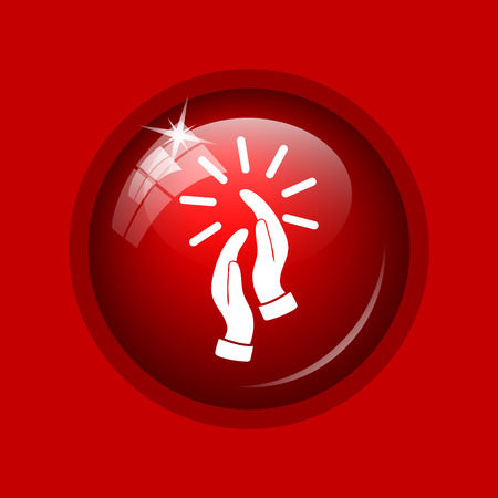 applaud: Applause icon. Internet button on red background.