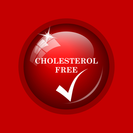 cholesterol free: Cholesterol free icon. Internet button on red background.
