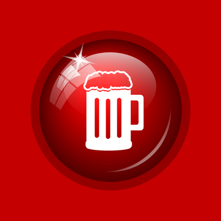 bierglas: Beer icon. Internet button on red background.
