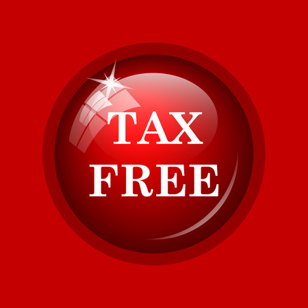 reduce taxes: Tax free icon. Internet button on red background.