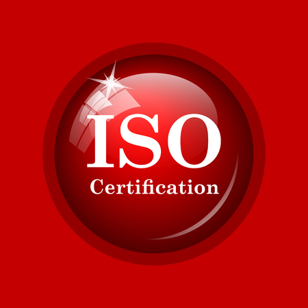 certification: ISO certification icon. Internet button on red background.