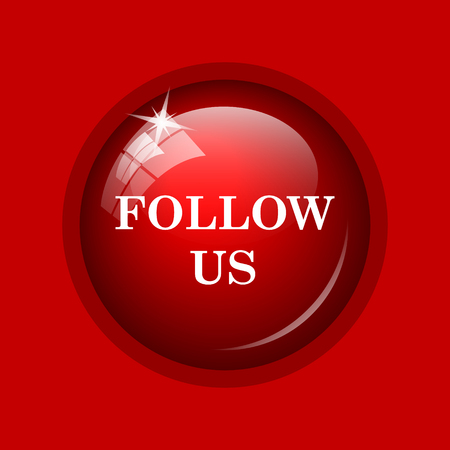 press button: Follow us icon. Internet button on red background.