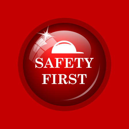 cautionary: Safety first icon. Internet button on red background. Stock Photo