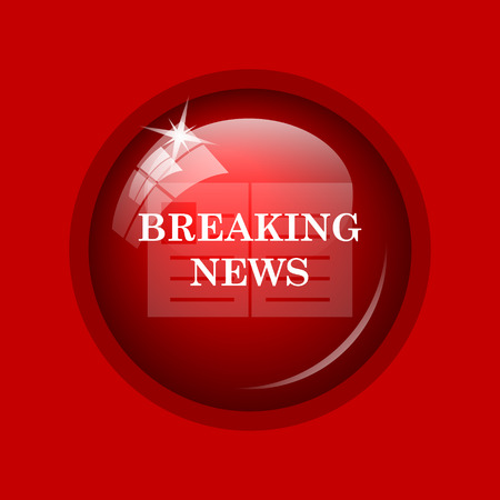 newscast: Breaking news icon. Internet button on red background. Stock Photo
