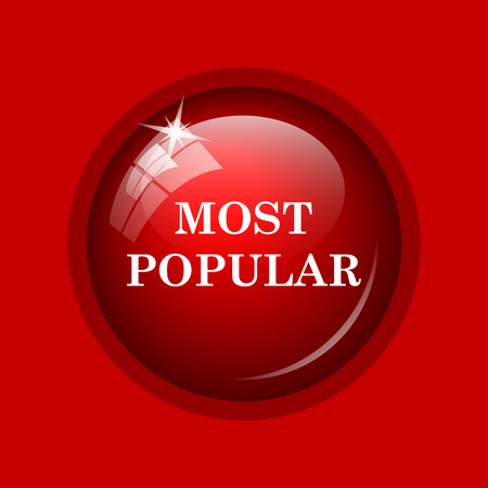 most: Most popular icon. Internet button on red background.