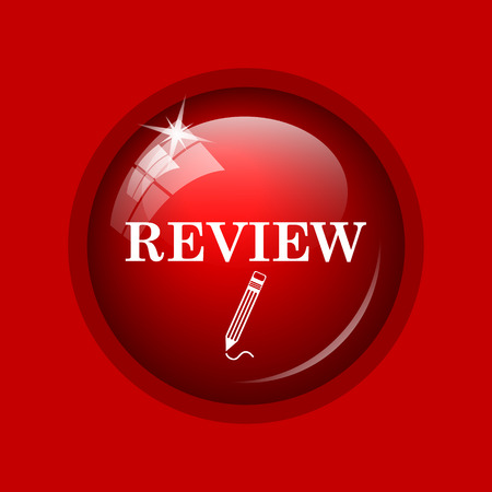 review icon: Review icon. Internet button on red background.