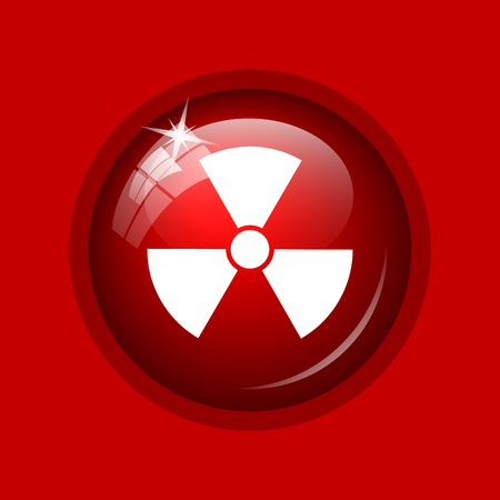nuke: Radiation icon. Internet button on red background.