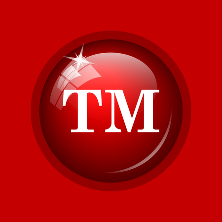 trade mark: Trade mark icon. Internet button on red background.