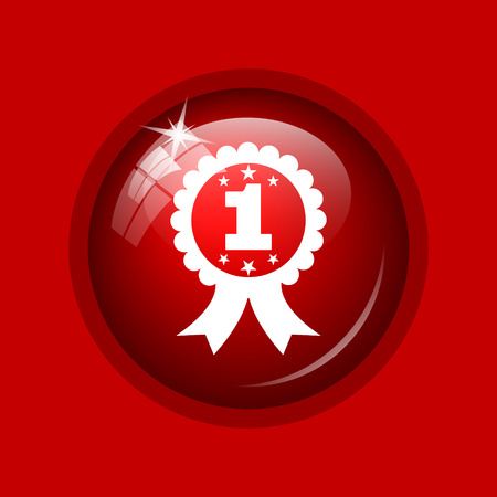 first prize: First prize ribbon icon. Internet button on red background.