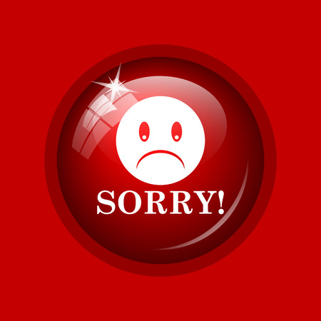 apologize: Sorry icon. Internet button on red background.