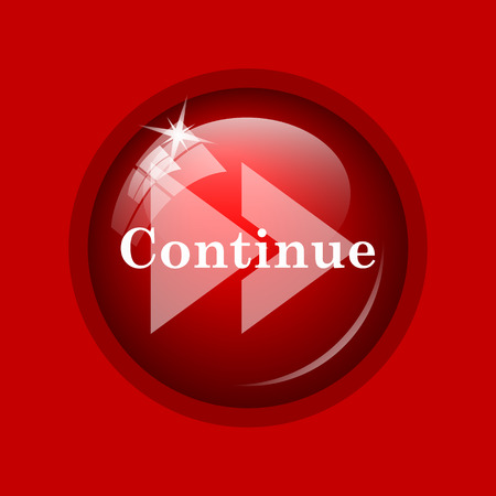 continue: Continue icon. Internet button on red background.