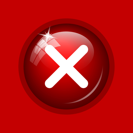 red button: X close icon. Internet button on red background.