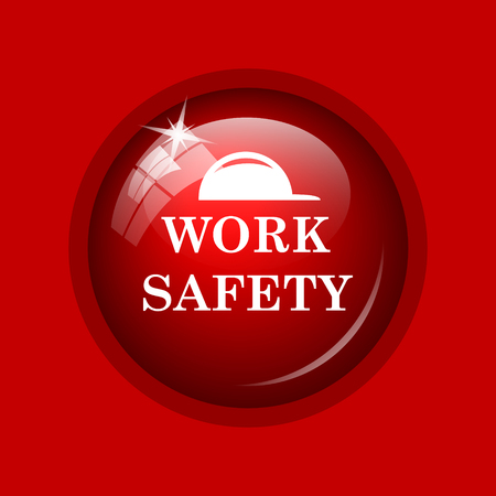 dangerous construction: Work safety icon. Internet button on red background. Stock Photo