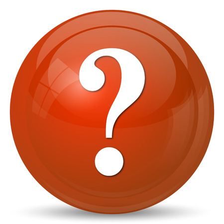 quest: Question mark icon. Internet button on white background.